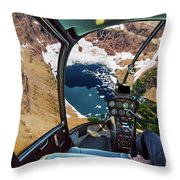 Helicopter On Glacier National Park Throw Pillow