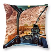 Helicopter On Monastery Of St Catherine Throw Pillow