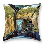 Helicopter On Tasman Arch Throw Pillow