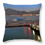 Heliport In The Vancouver's Port Throw Pillow