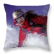 Hell Bent For Powder Throw Pillow by Colleen Taylor