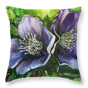 Helleborous Blue Lady Throw Pillow