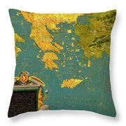 Hellenic Peninsula Greece, Albania, Bosnia And Bulgaria Throw Pillow