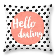 Hello Darling Coral And Dots Throw Pillow