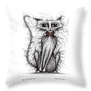 Hello Fuzzy Cat Throw Pillow