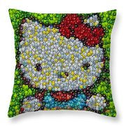Hello Kitty Mm Candy Mosaic Throw Pillow