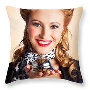 Help At Hand With Retro Woman Offering Assistance Throw Pillow