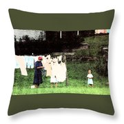 Helpin Momma..amish Wash Day Throw Pillow