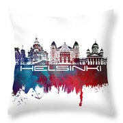 Helsinki Skyline City Blue Throw Pillow