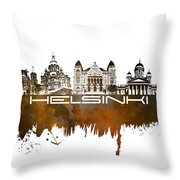 Helsinki Skyline City Brown Throw Pillow