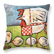 Hen And Chicks After Storm Throw Pillow