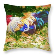 Hen With Chick Throw Pillow