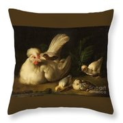 Hen With Chicks Throw Pillow