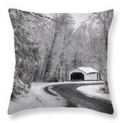 Henningers Farm Covered Bridge Throw Pillow