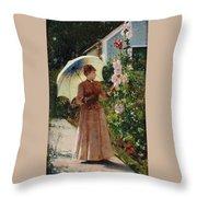 Henri Emile De Sachy France 19th Century Elegant Young Lady In The Garden Walk At Hollyhocks Throw Pillow