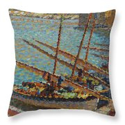 Henri Martin 1860 - 1943 Boats To Collioure Throw Pillow