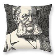 Henrik Ibsen, Norwegian Playwright Throw Pillow