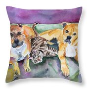 Henry And Sam And Jack Throw Pillow