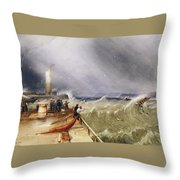 Henry Barlow Carter 1795-1867 Loss Of The Scarborough Lifeboat 24 May 1836 Throw Pillow