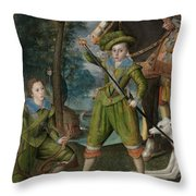Henry Frederick 15941612 Prince Of Wales With Sir John Harington 15921614 In The Hunting Field Throw Pillow
