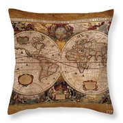 Henry Hondius Seventeenth Century World Map Throw Pillow by Skye Ryan-Evans