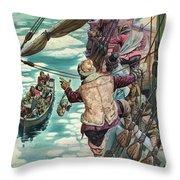 Henry Hudson Being Set Adrift Throw Pillow