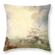 Henry Redmore Running Up The Coast In Heavy Seas, 1856 Throw Pillow