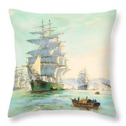 Tranquil Morning - Foochow, The Famous Clipper Thermopylae At Anchor Throw Pillow