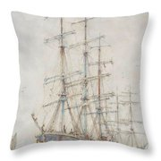 Henry Scott Tuke Windjammers At Anchor, 1921 Throw Pillow