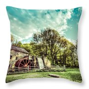 Henry Wadsworth Longfellow's Wayside Inn Gristmill, Sudbury, Massachusetts Throw Pillow