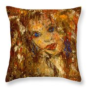 Her Blue Eyes Throw Pillow