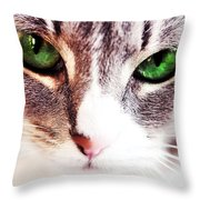 Her Emerald Eyes. Kitty Time Throw Pillow