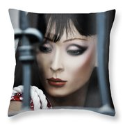 Her Lips My Fight  Throw Pillow