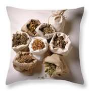 Herbal Teas And Seeds Throw Pillow