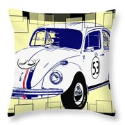 Herbie The Love Bug Throw Pillow