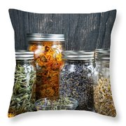 Herbs In Jars Throw Pillow