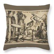 Hercules Killing Cacus At His Cave Throw Pillow