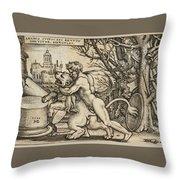 Hercules Killing The Nemean Lion Throw Pillow