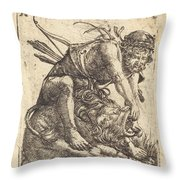 Hercules Overcoming The Nemean Lion Throw Pillow