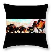 Herd Of Buffalo Throw Pillow