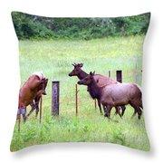 Herd Of Elk Leaping - Western Oregon Throw Pillow