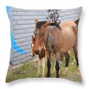 Herd Of Horses On A Street Throw Pillow