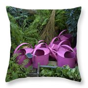 Herd Of Watering Cans Throw Pillow