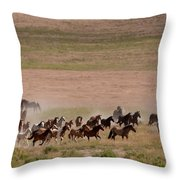 Herd On The Move Throw Pillow
