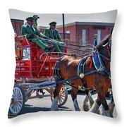 Here Comes The King-budweiser Clydesdales Throw Pillow
