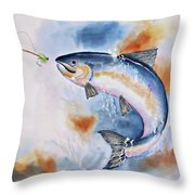 Here Fishy, Fishy Throw Pillow