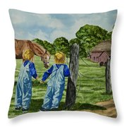 Here Horsey Horsey Throw Pillow