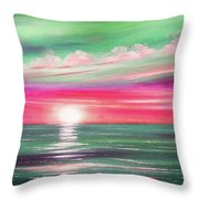 Here It Goes In Teal And Magenta Panoramic Sunset Throw Pillow