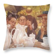 Here The Family Can Make Coffee Throw Pillow