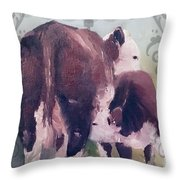 Hereford Cow Calf Throw Pillow